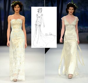 photo of claire pettibone wedding dress sketch anne hathaway celebrity wedding