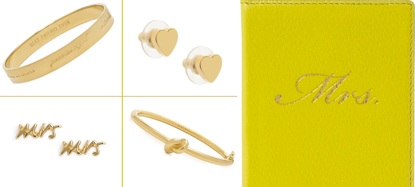 Kate Spade Wedding Gift Ideas : gold bridal jewelry gifts for bridesmaids kate spade OneWed.com