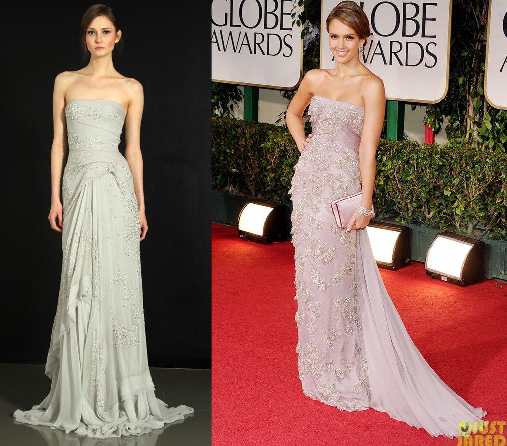 Jessica Alba Wedding: Jessica Alba 2012 Golden Globes J Mendel Wedding Dress
