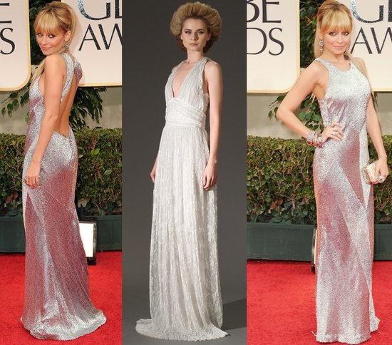 nicole ritchie golden globes silver wedding dress