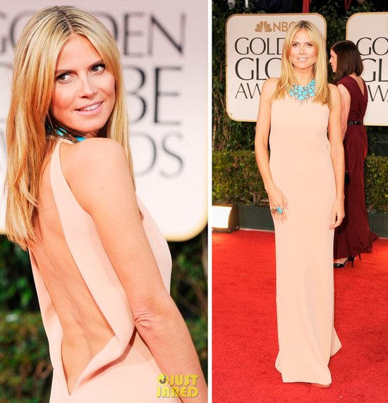 heidi klum 2012 golden globes column wedding dress
