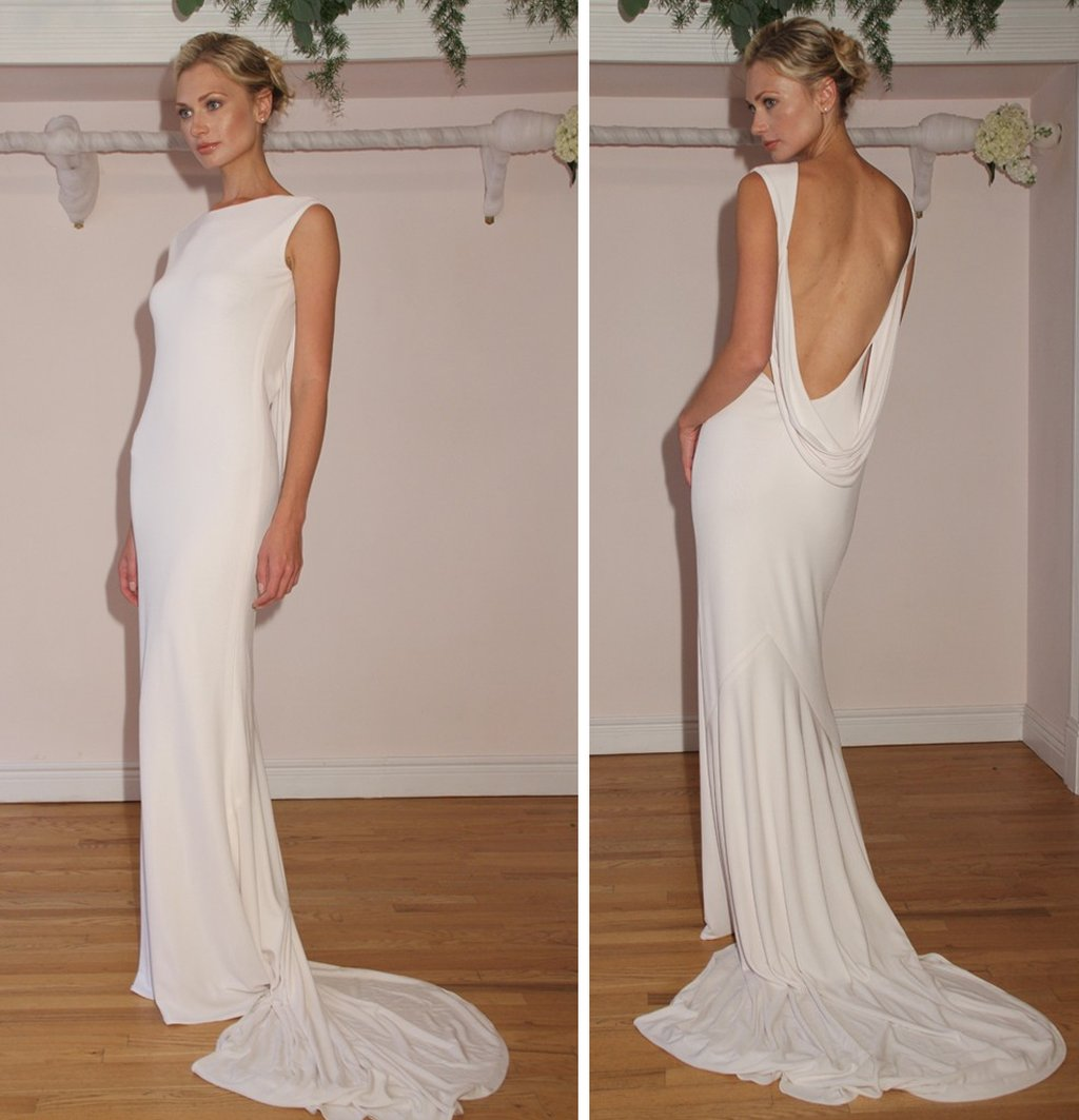 2012 wedding dress open back simple bridal style