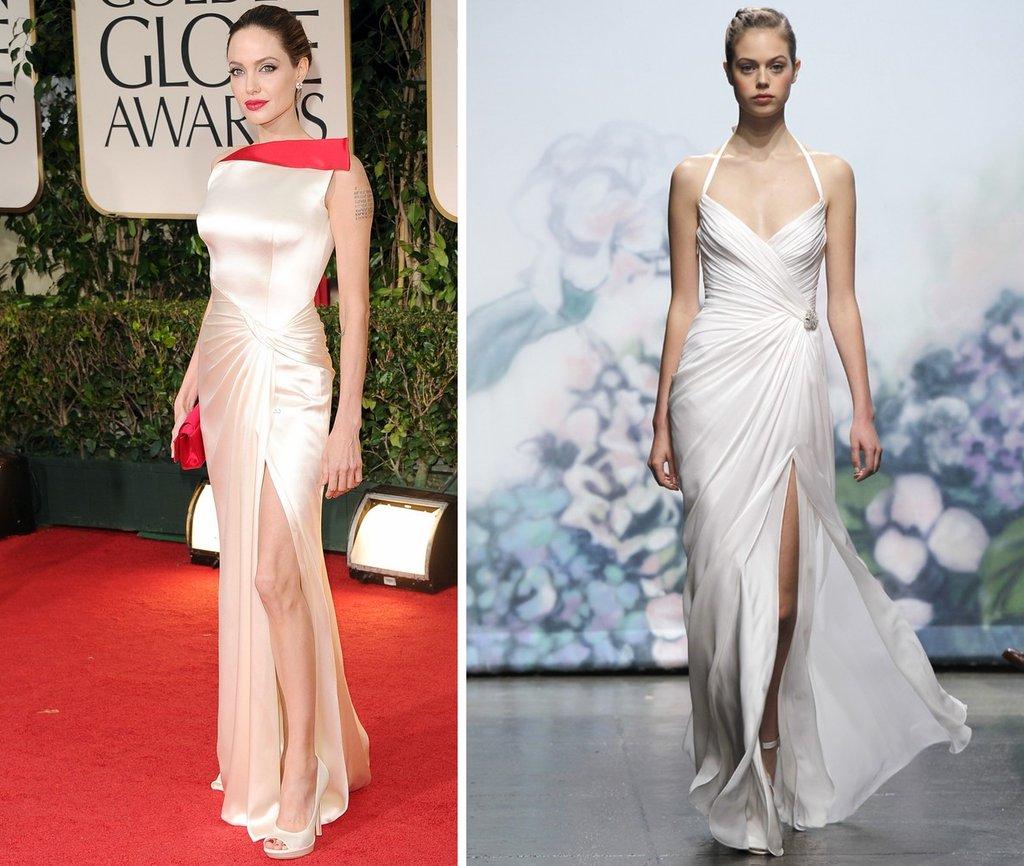 angelina jolie 2012 golden globes monique lhuillier wedding dress