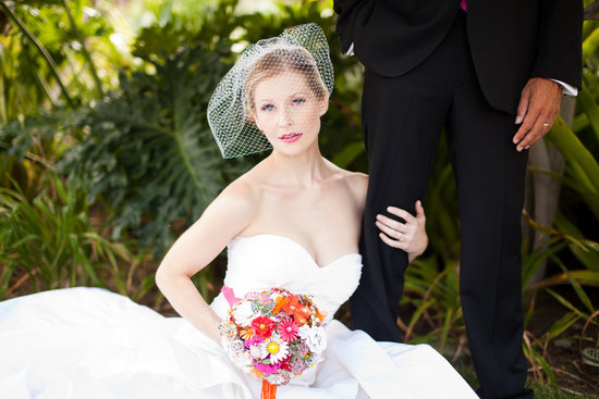 beautiful bright brooch wedding bouquet