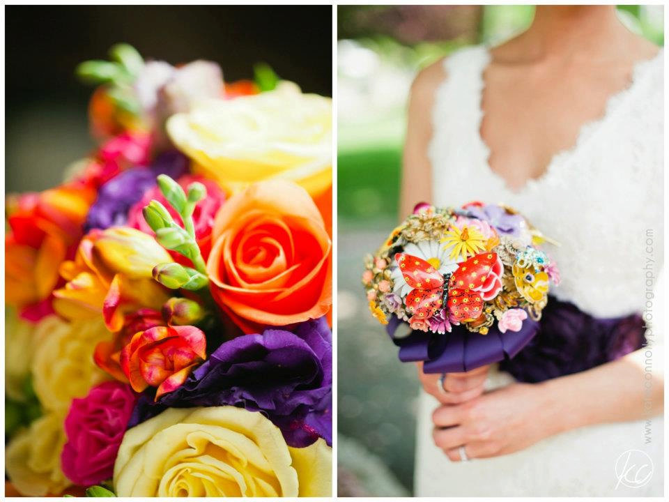 bright orange purple yellow brooch wedding bouquet