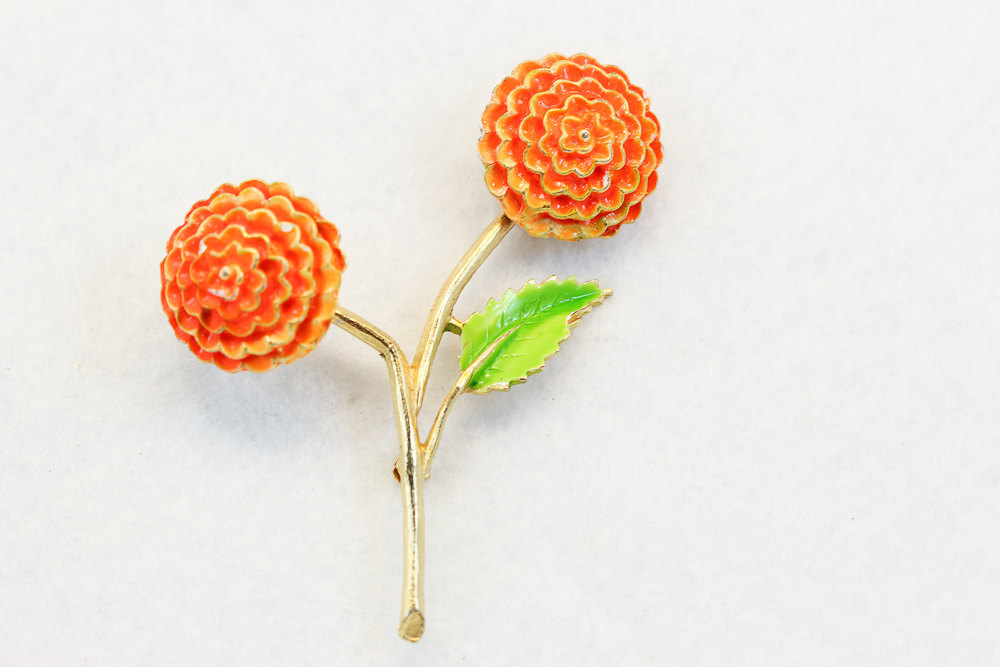 orange gold and lime vintage grooms boutonniere