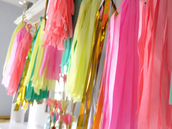 Bright neon colorful wedding garland