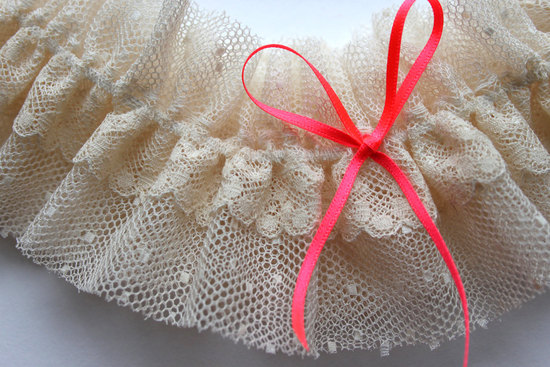 ivory tulle bridal garter with neon ribbon