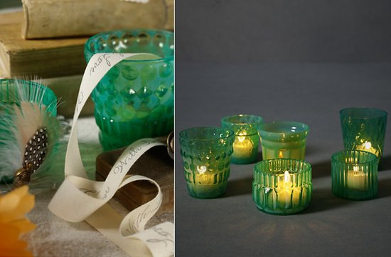 green wedding reception decor candles