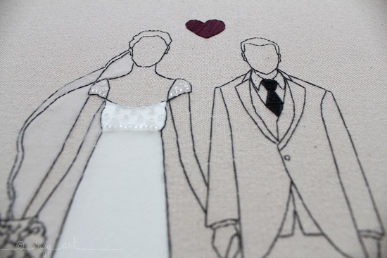 wedding art bride groom