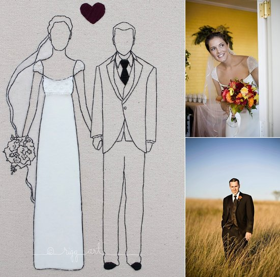 real wedding portraits art bride groom handmade