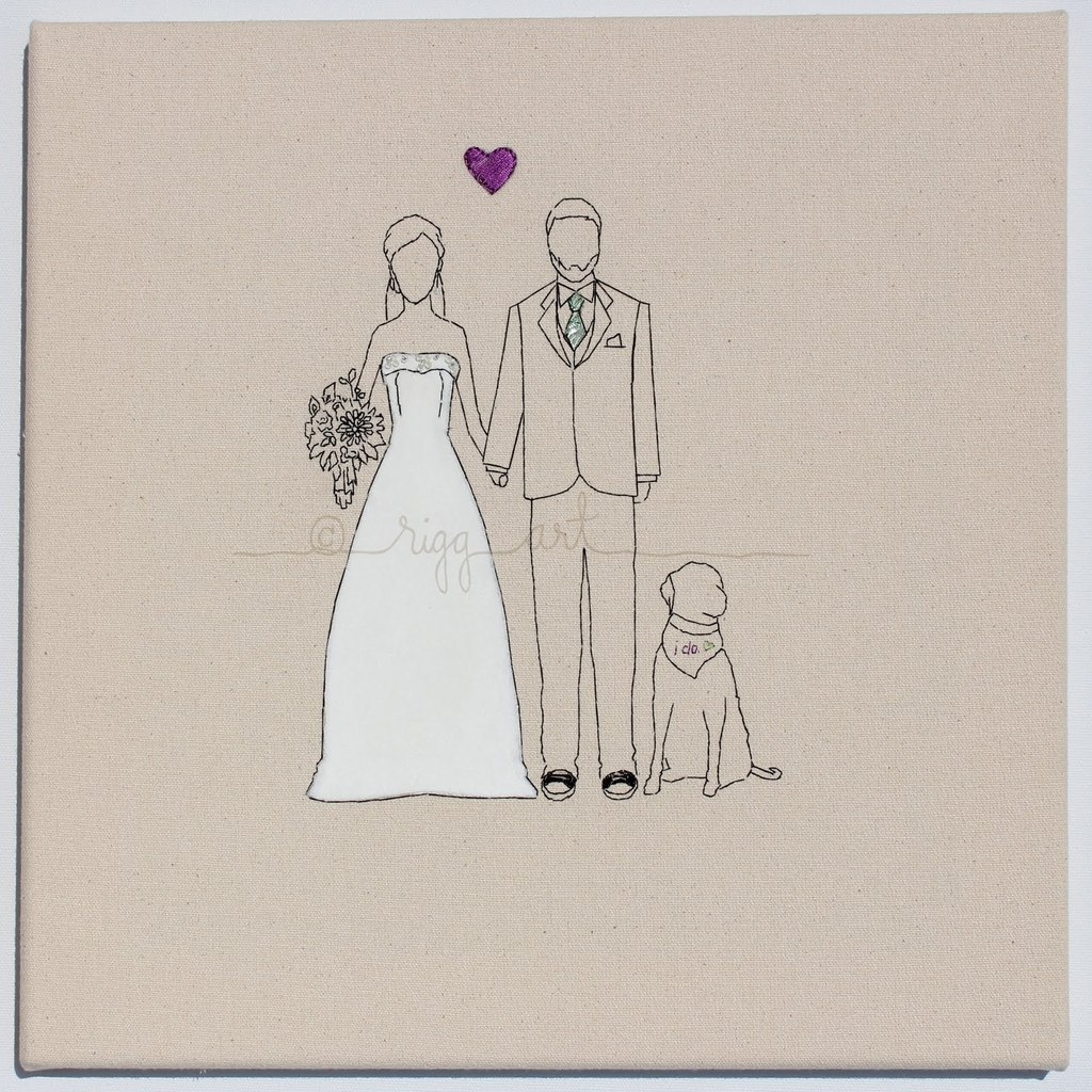 bride groom wedding portrait handmade with dog