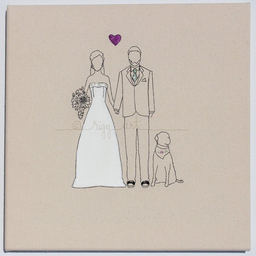 Bride-groom-wedding-portrait-handmade-with-dog.full