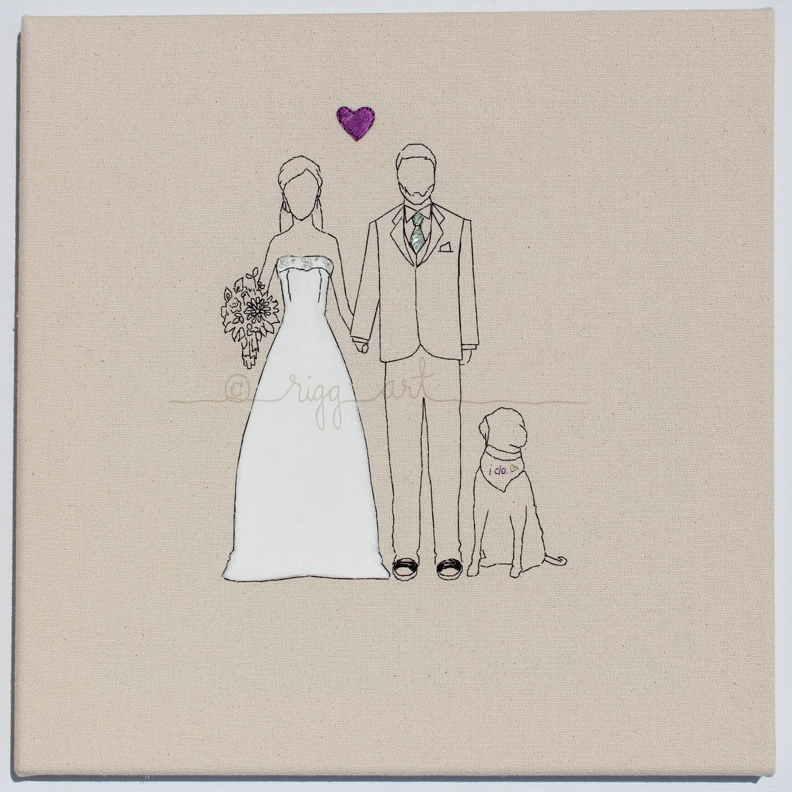 Bride-groom-wedding-portrait-handmade-with-dog.original