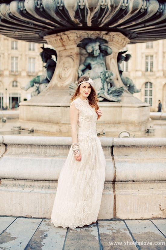 Flapper inspired wedding dress shoot in France