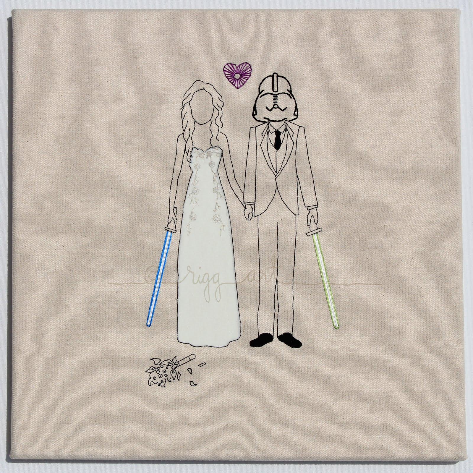 Star Wars Wedding Gifts: Star Wars Bride Groom Wedding Portrait