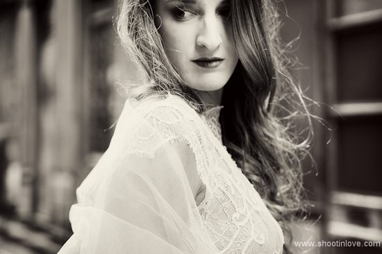 black and white romantic bridal portrait
