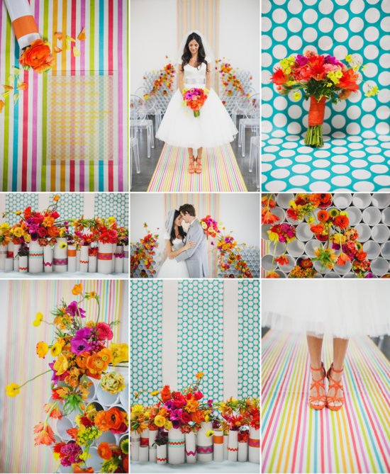 Modern wedding ideas bright flowers bold patterns 2