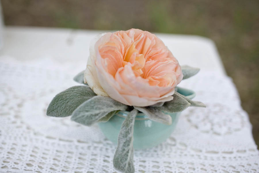 Peach Garden Rose Single Bloom Wedding Centerpiece