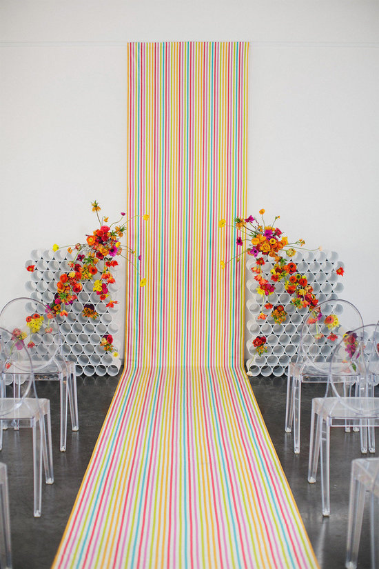neon rainbow modern wedding backdrop