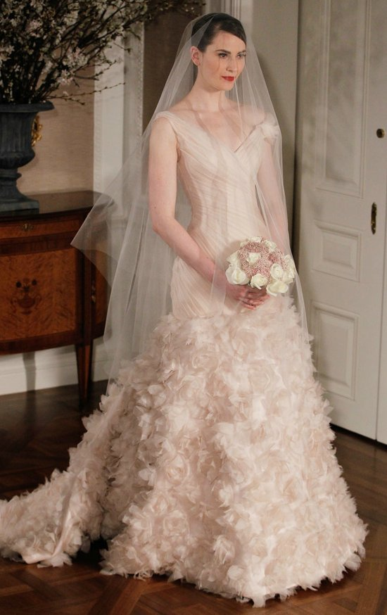 romona keveza wedding dress spring 2012 bridal gowns blush pink v neck