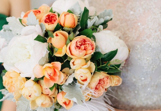 Light peach ivory romantic rose wedding bouquet