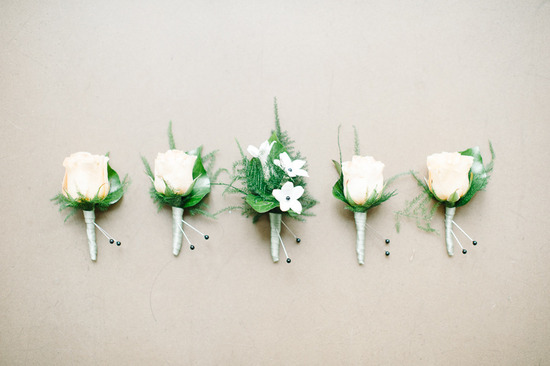 Simple ivory rose with green leaves groom groomsmen boutonnieres