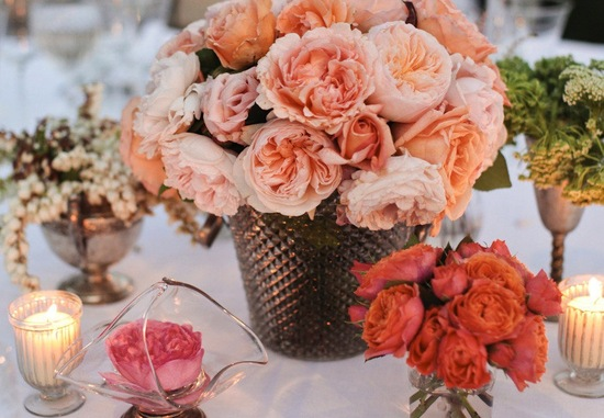 Peach coral garden rose wedding centerpieces