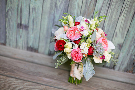 garden rose ranunculus lambs ear wedding bouquet