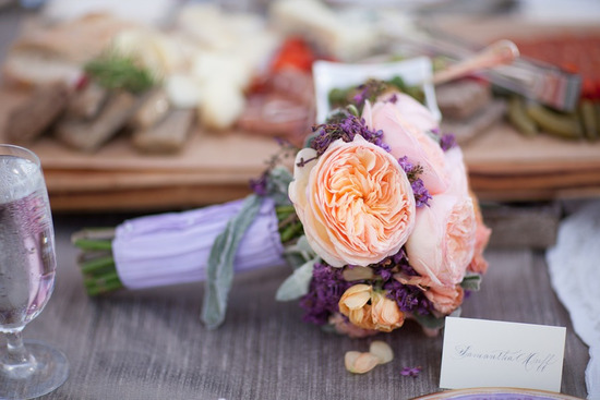 peach garden rose with lilac bridesmaid bouquet