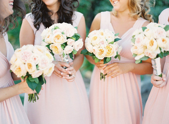 Romantic pastel garden rose bridesmaid bouquets