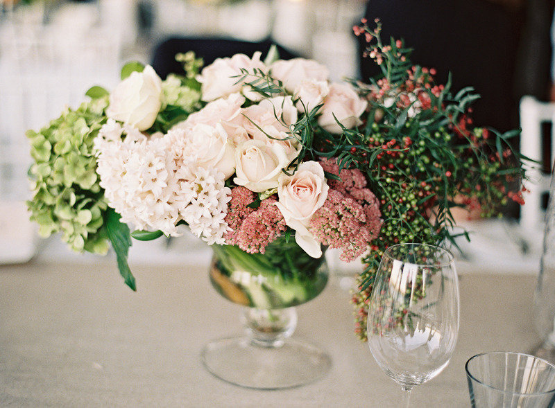 Hydrangea Centerpiece Questions : Vintage romance rose hydrangea wedding centerpiece