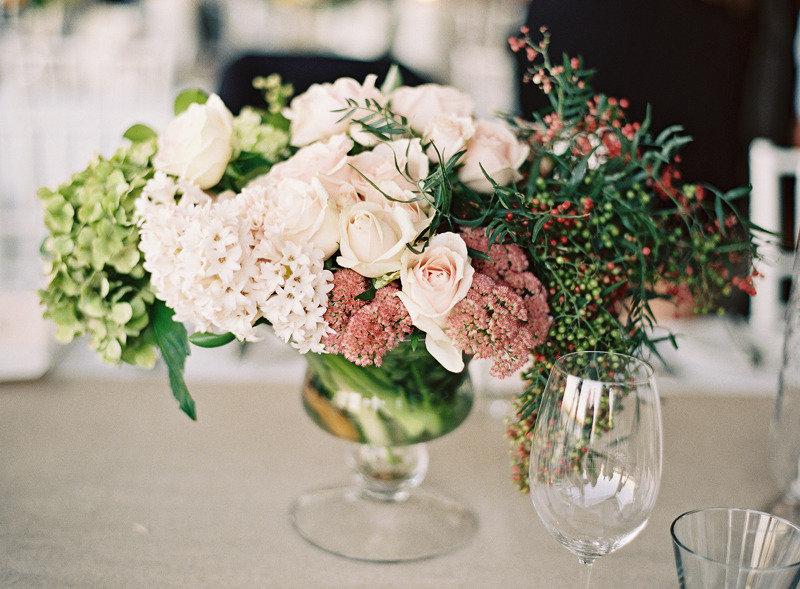 Vintage romance rose hydrangea wedding centerpiece