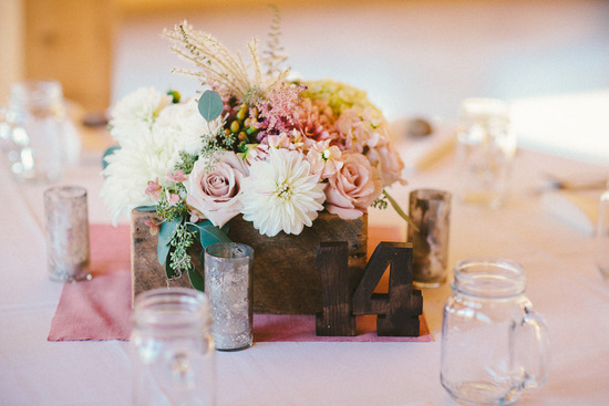rustic romance blush ivory wedding centerpiece