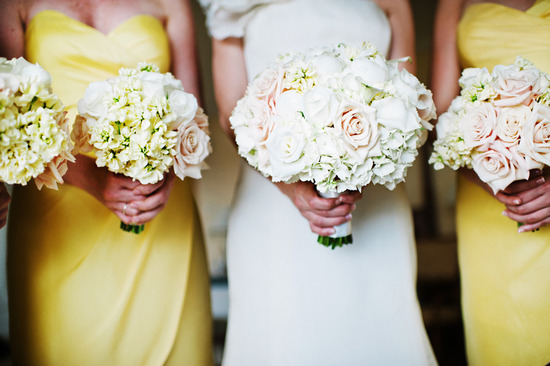 Elegant white ivory blush pink wedding bouquets