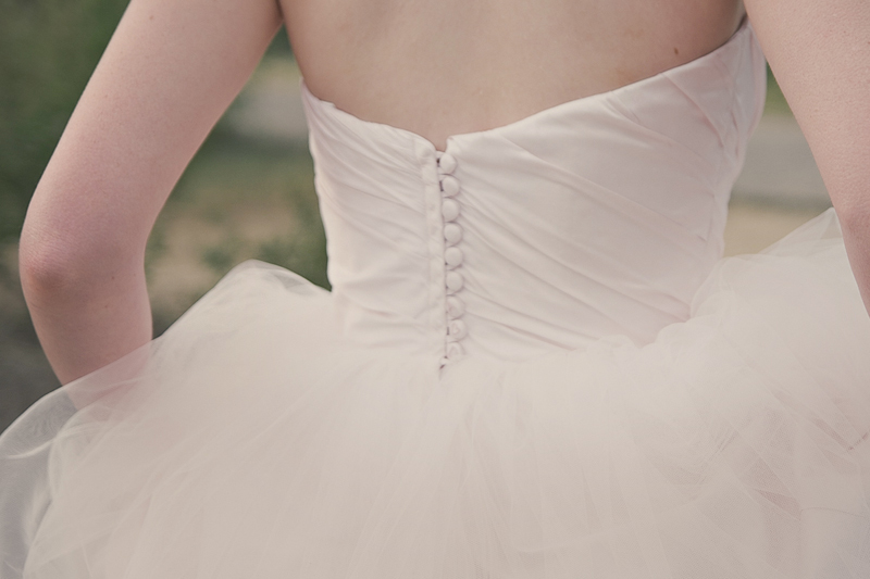 romantic tulle ball gown wedding dress with covered buttons