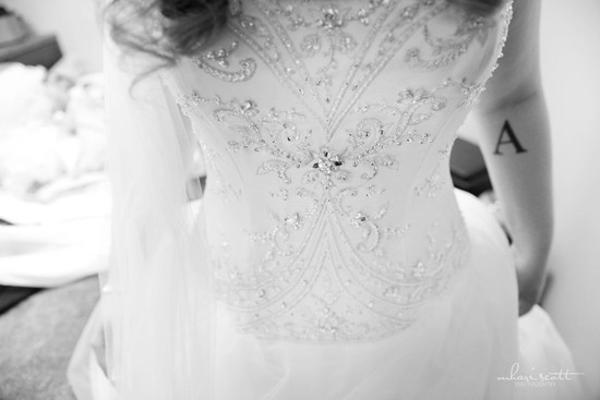 white beaded corset wedding dress detail shot