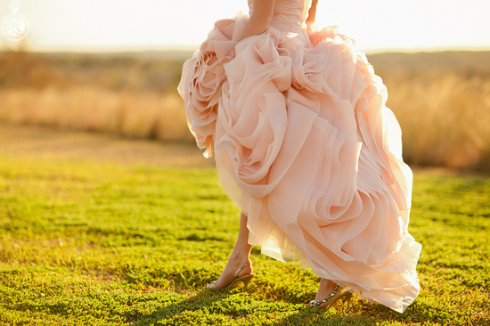 Blush pink wedding dress outdoor bridal portrait