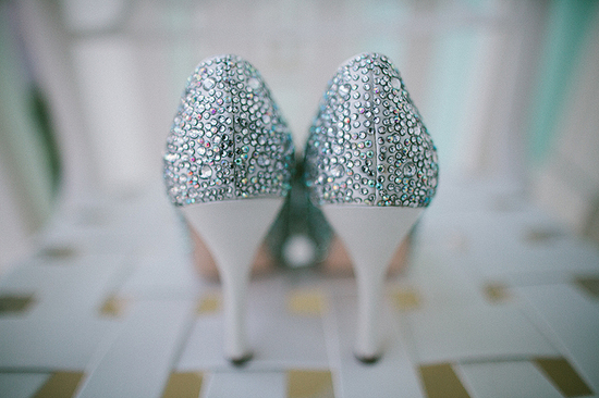 photo of silver crystal encrusted wedding shoes