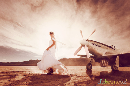 Unique wedding trash the dress session aviation