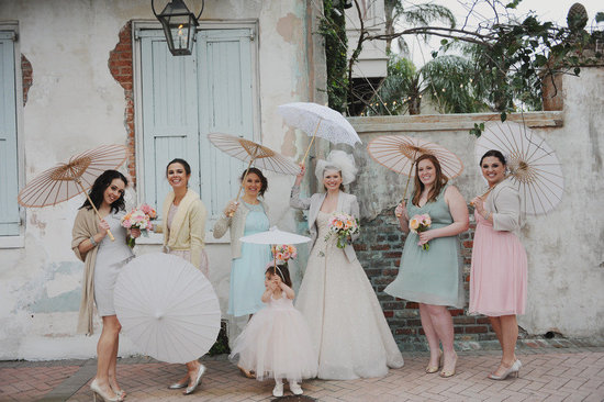 retro pastel wedding theme mix and match bridesmaids