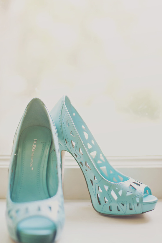 pastel aqua wedding shoes with cutouts