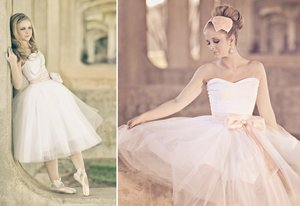 photo of Tea length wedding dress with tulle skirt, pink sash
