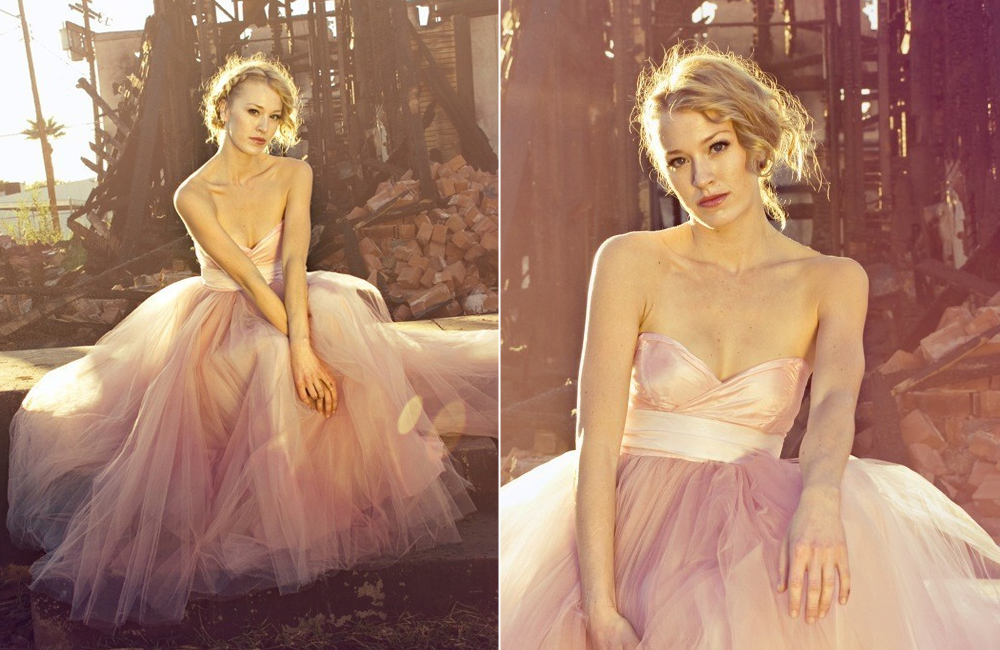 Pink wedding dress 2012 bridal trends tulle for Pink and gold wedding dress