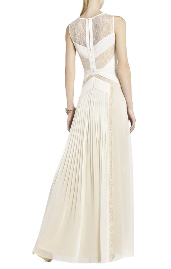avi pleated wedding gown with sheer lace panels