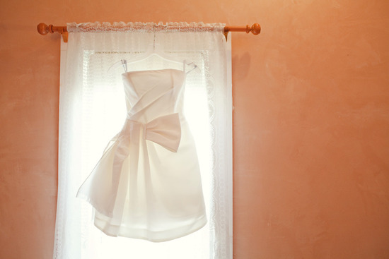 simple lwd hangs in window of bridal suite