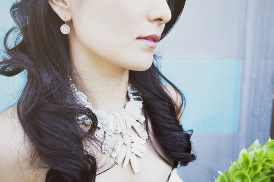 Sacramento bride wears crystallized statement necklace