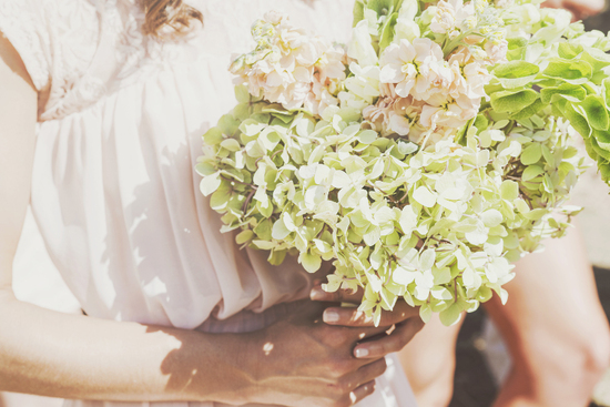 gorgeous pastel green pink hydrangea bridesmaid bouquets