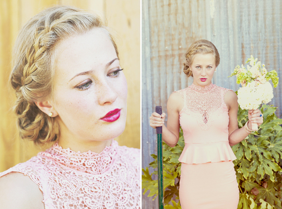 romantic bridesmaid wears blush pink gown braided hairstyle