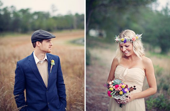 outdoor wedding bohemian bridal wedding hair wreath